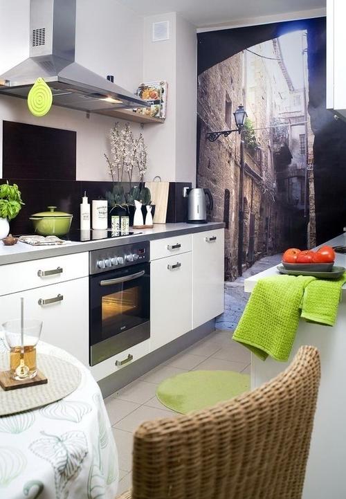 Фотообои для маленькой кухни – увеличиваем пространство