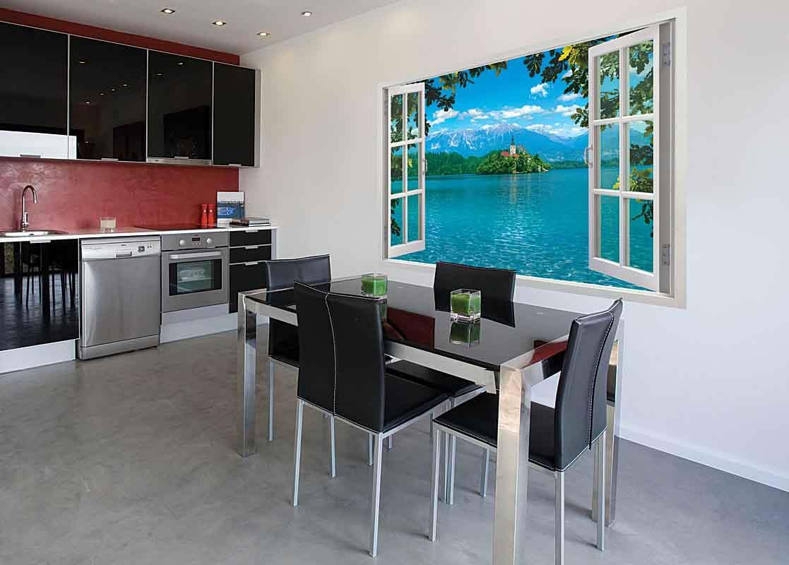 Фотообои на стену окно, покрытые винилом, – отличное решение для кухни
