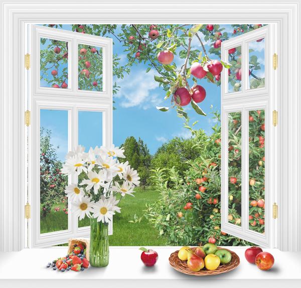 Фотообои окно в сад нужно качественно подсветить для улучшения вида