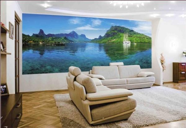 Фотореалистичное изображение на стене жилой квартиры.