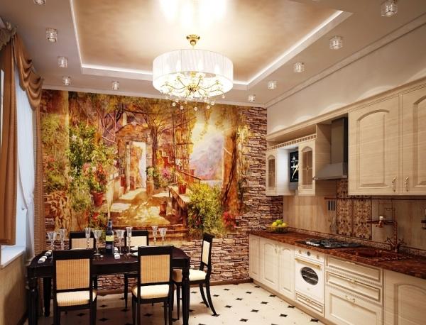 Фреска на кухню позволит расширить пространство