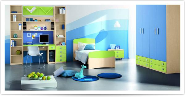 Гармония голубого и салатового в детской комнате