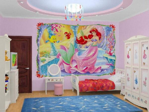 Гармония мебели с обоями в детской.