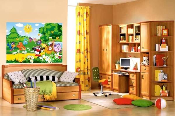 Герои мультфильмов – популярная тема для детских комнат