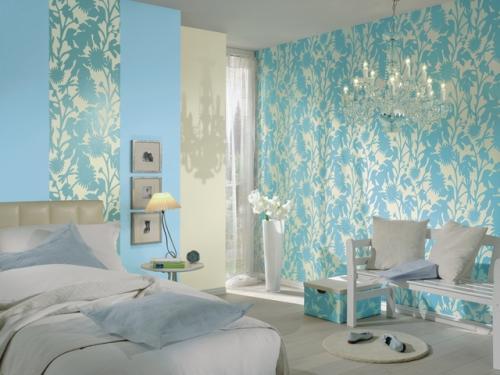Голубые обои для белой спальни