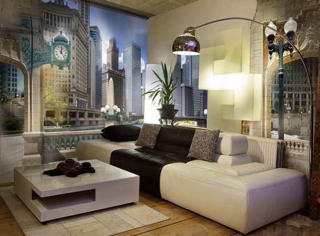 Гостиная и фотообои с городским пейзажем