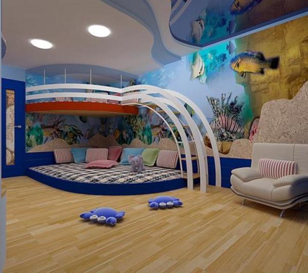 Интерьер подростковой комнаты с обоями водного мира