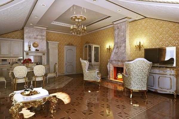 Интерьер в классическом дворцовом стиле.