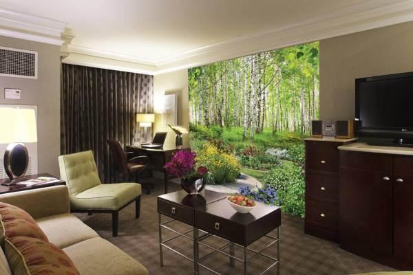 Использование фотообоев может значительно улучшить внешний вид интерьера гостиной, но лучше всего их применять в качестве отдельных композиций и на небольших участках
