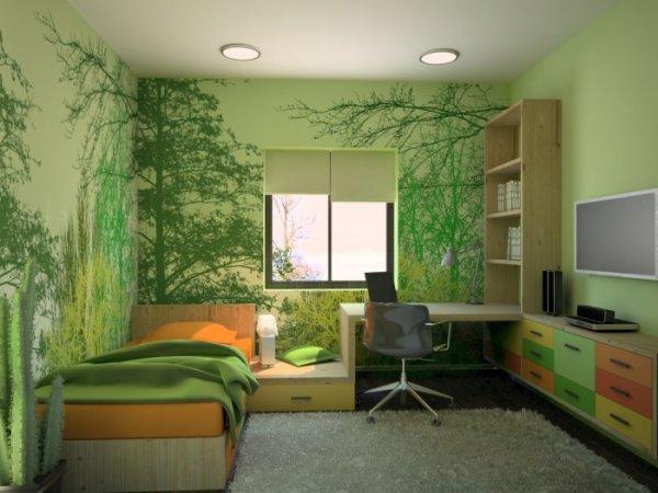 Использование фотообоев в подобных тонах для создания определенного эффекта в спальне