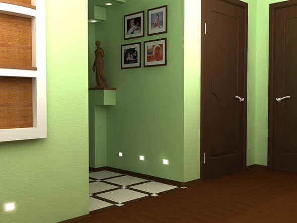 Использование однотонных материалов для отделки коридоров с дополнительной подсветкой