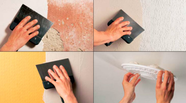 Использование шпаклевки для выравнивания окрашенных стен