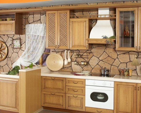 Использование стекловолоконных обоев в кухне.