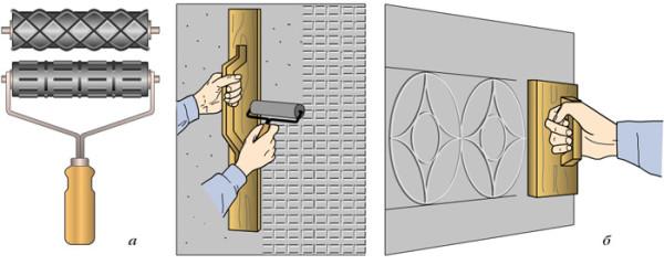 Использование валиков (а) и штампов (б)