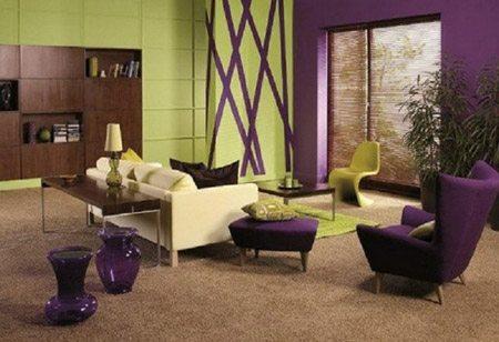 Комбинация фиолетового и светло-зеленого оттенка