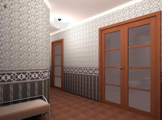 Комбинирование обоев в интерьере прихожей – распространенный прием в оформлении этой части квартиры.