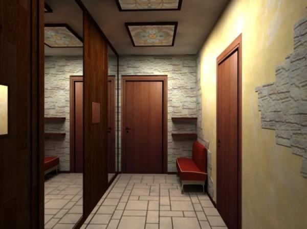 Комбинированная отделка коридора.