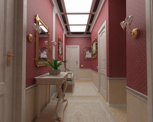 Комбинированная отделка коридора панелями и обоями стала классикой.