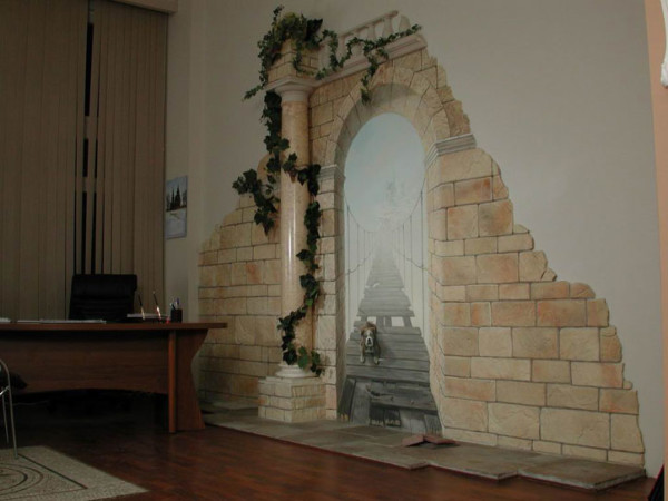 Комната, отделанная искусственным камнем, может выглядеть и так