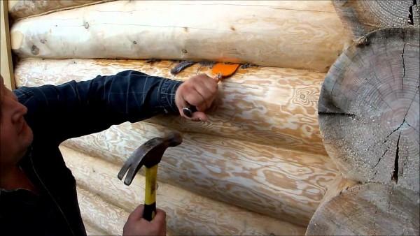 Конопатка щелей сруба