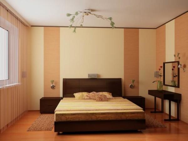 Консервативный дизайн спальни, выполненный в теплых тонах.