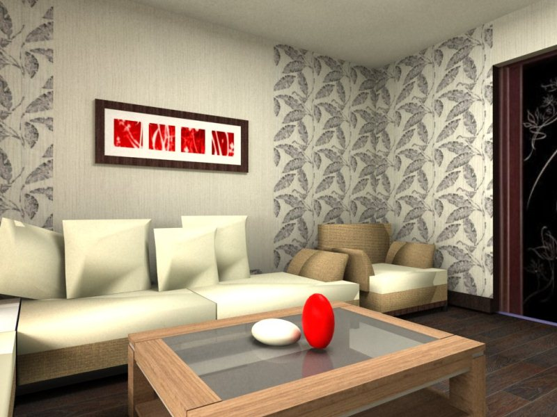 Красиво комбинированные обои для зала создают стильную и неповторимую атмосферу