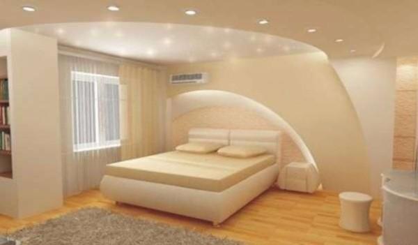 Красивый потолок из гипсокартона с точечной подсветкой