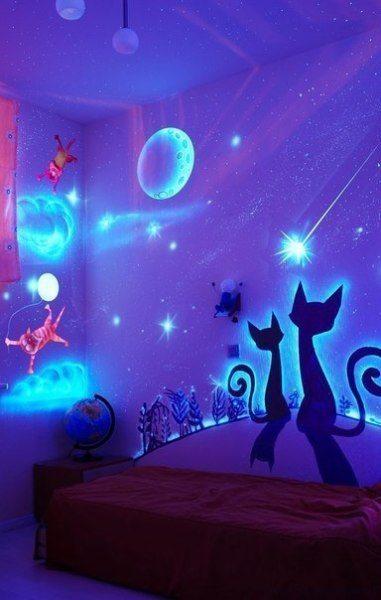 Краска люминофор поможет создать сказочную атмосферу в спальне