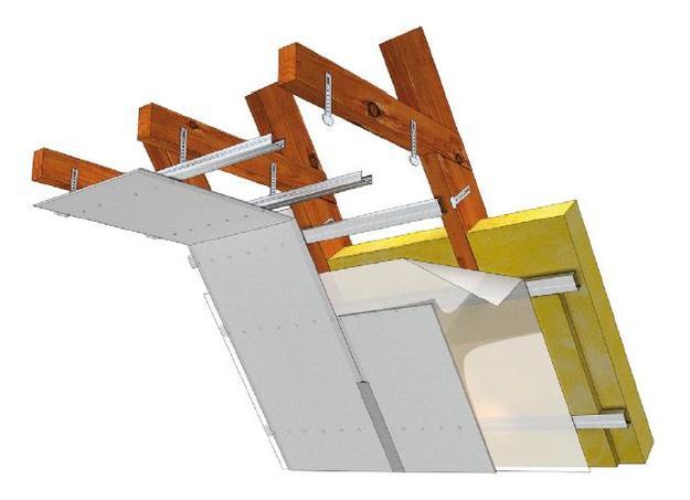 Крепление листа на каркас с анкерными подвесами для деревянных конструкций.