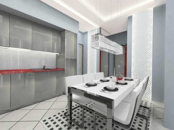 Кухня с отделкой стеклом.