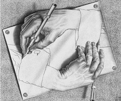 """Литография """"Рисующие руки"""" была создана в 1948 году."""
