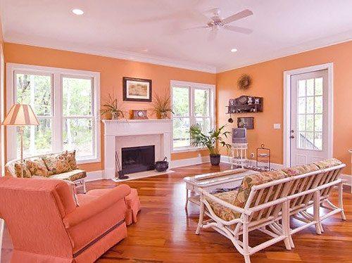 Любительское фото гостиной комнаты, для оформления которой были использованы однотонные обои персикового цвета и пол из ламината