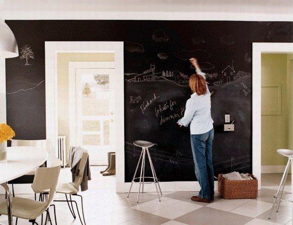 Любительское фото интерьера помещения, где в качестве стены используется школьная доска