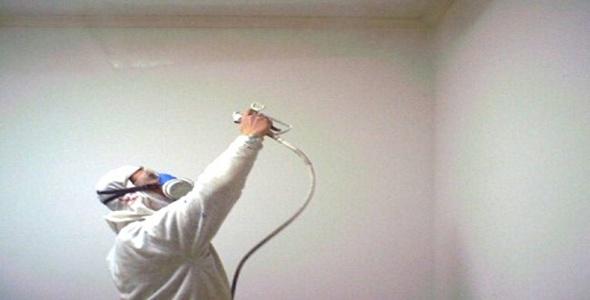 Как белить потолок краскопультом ручным 7
