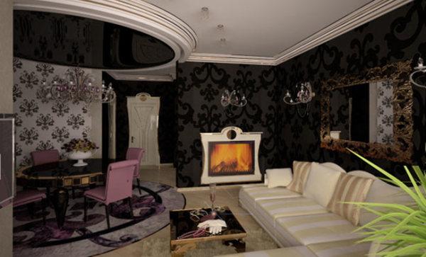 Любительское фото своеобразного оформления зала обоями