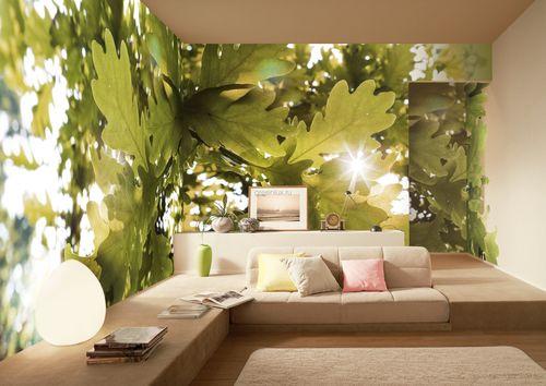 Макро изображение листьев зрительно расширяет кубатуру