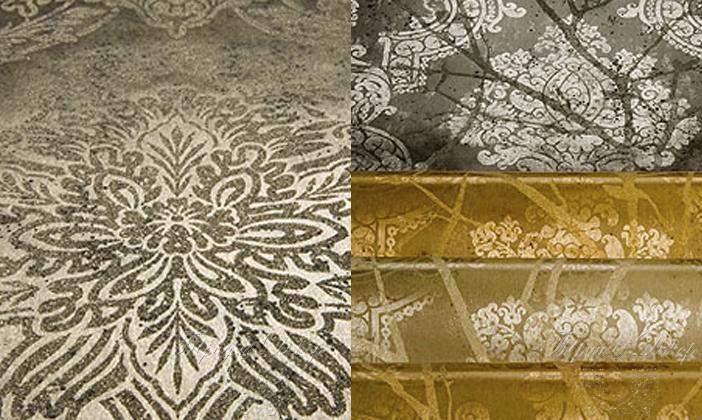 Металлизированные обои с разным рисунком