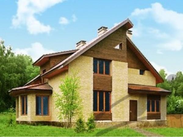 Многослойный вариант отделки фасада здания.