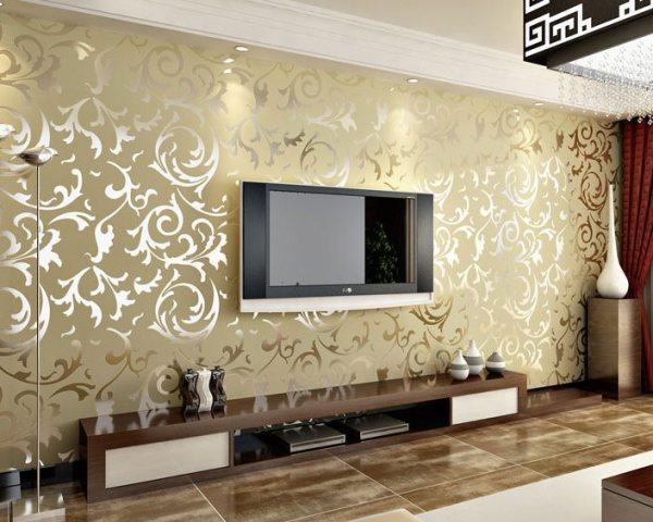 Модные цвета обоев для зала с золотым орнаментом