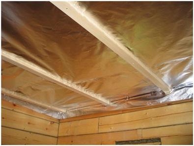 Монтаж фольги на потолке.