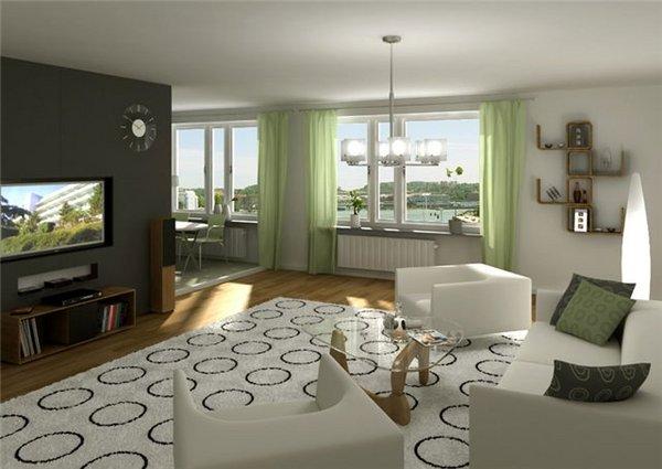 На данном фото вы можете увидеть, как сделать зал более просторным, соединив его с кухней