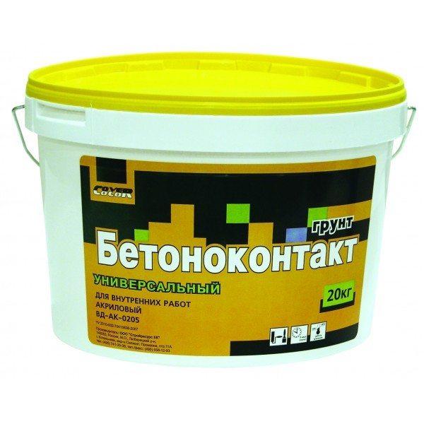 На фото - акриловый грунтовочный состав «Бетоноконтакт» для внутренних работ