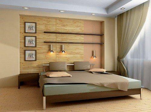 На фото - декорирование зоны отдыха в спальной комнате