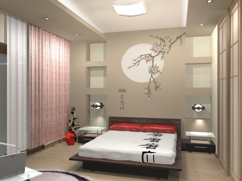 На фото - минималистический интерьер спальни в японском стиле