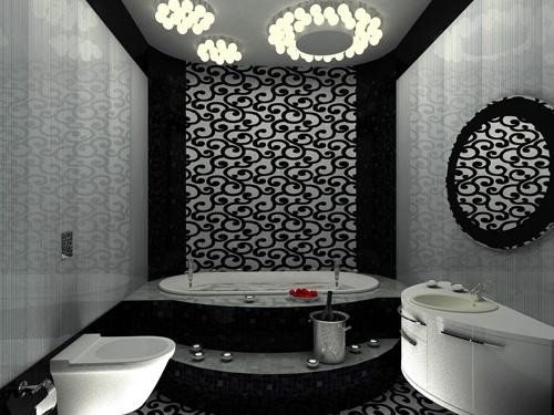 На фото - натяжные обои в ванной комнате