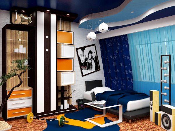 На фото - неудачный подбор расцветки стен в сочетании с излишне пестрой мебелью и темным давящим потолком