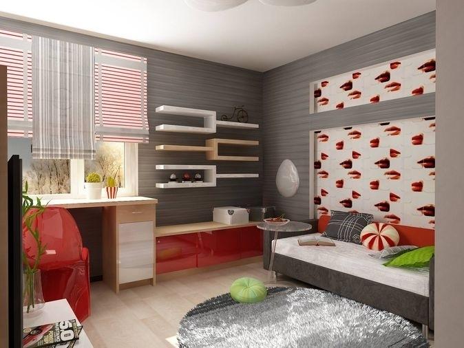 На фото - обойные вставки в интерьере спальни