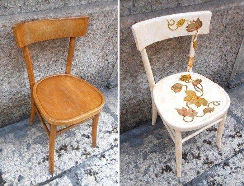 На фото - самый обычный стул после покраски станет настоящим украшением интерьера