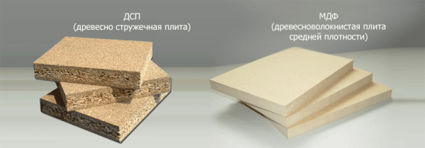 На фото - сравнительная характеристика плотности МДФ и ДСП