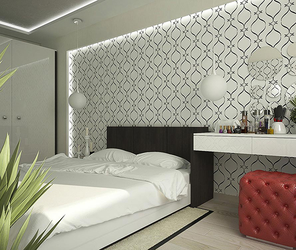 На фото - стилизованный вензель в отделке современной спальни